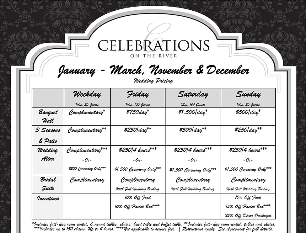 January, February, March, November & December Wedding Pricing at Celebrations on the River La Crosse, WI
