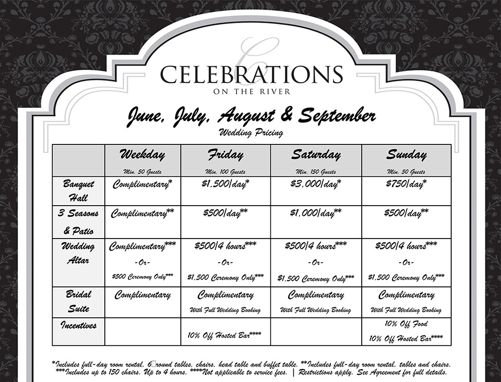Wedding Pricing June, July, August, and September at Celebrations on the River La Crosse, WI