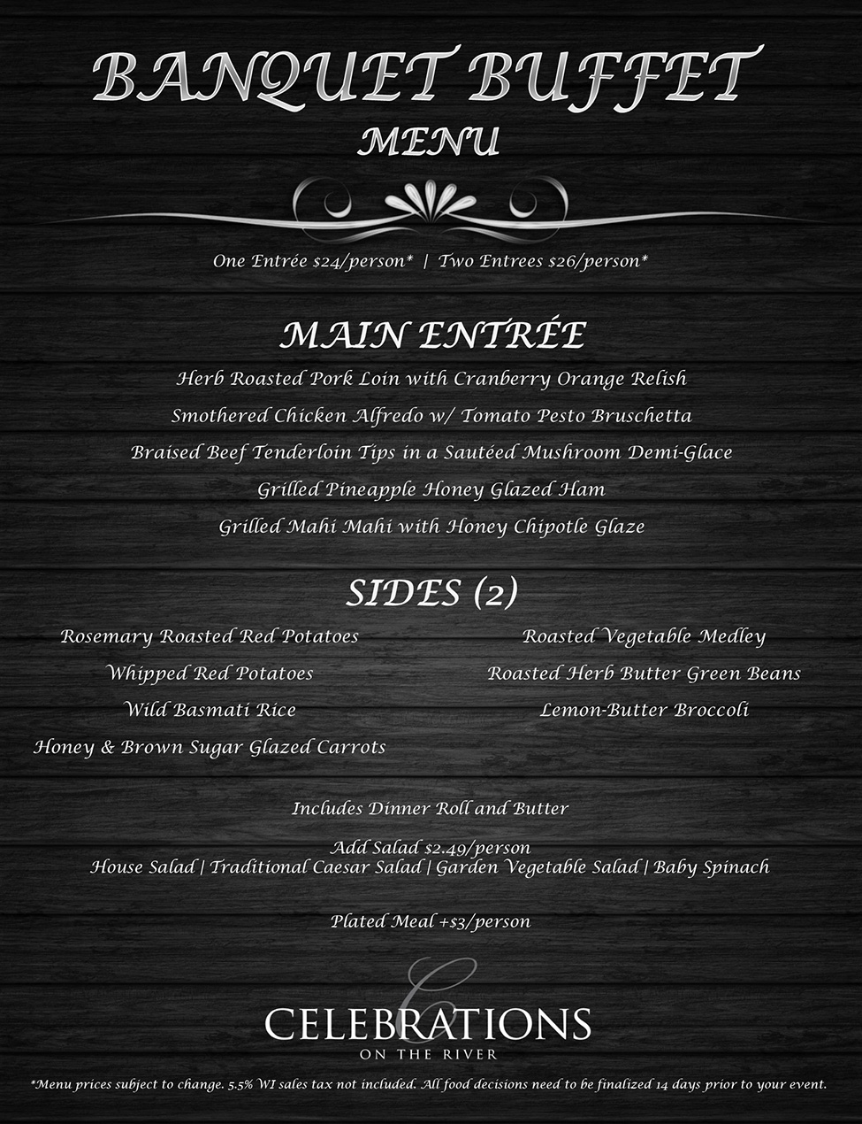 Celebratons Banquet Buffet Tier One Food Menu