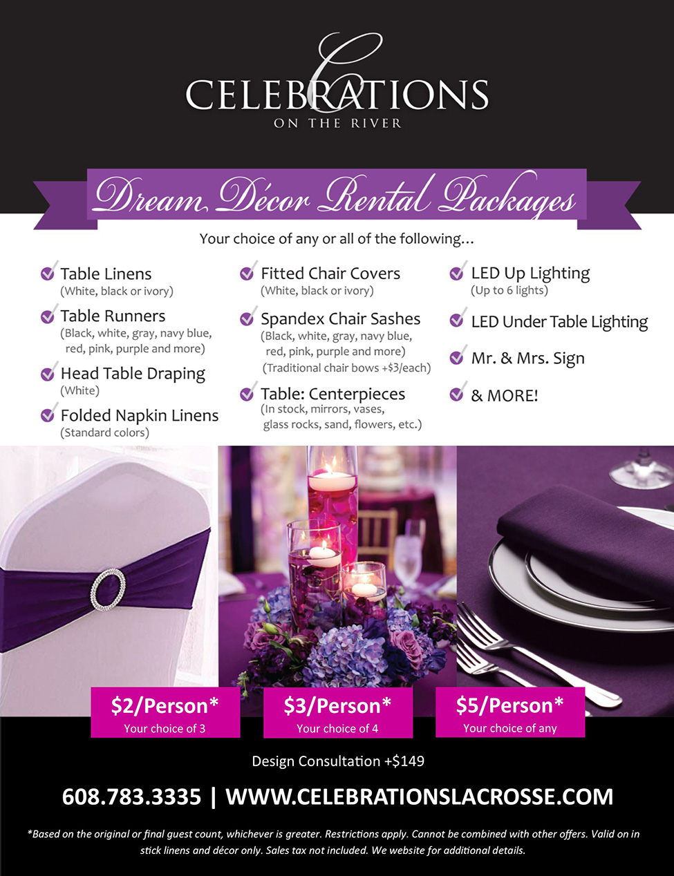 Dream Decor Packages at Celebrations on the River La Crosse, WI
