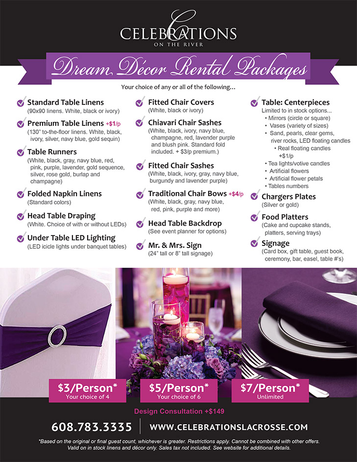Dream Decoration Packages at Celebrations on the River in La Crosse, WI. Wedding decor and decoration options.