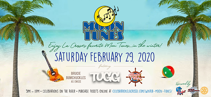 Winter Moon Tunes at Celebrations on the River in La Crosse, WI. February 29, 2019