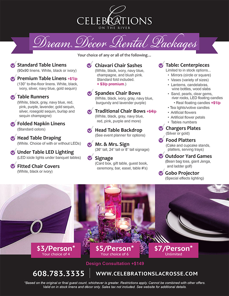 Dream Decor and Decorations packages for wedding decor at Celebrations on the River La Crosse, WI