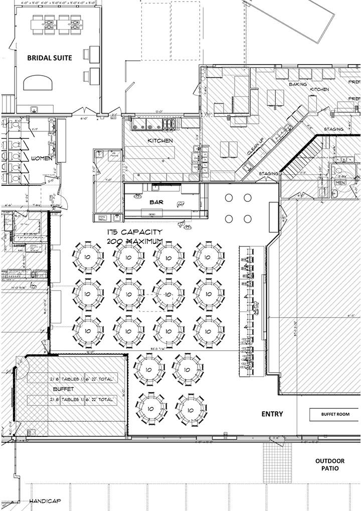 Serenity Falls Banquet Hall and Wedding Venue Floor Plan in La Crosse, WI at Celebrations on the River.